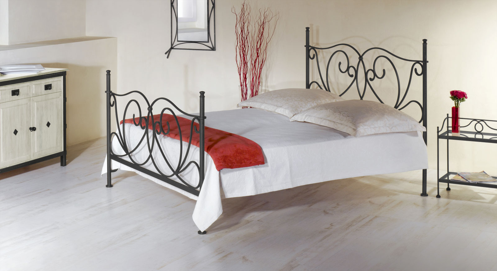 romantisches metallbett in wei 140x200 cm san pedro. Black Bedroom Furniture Sets. Home Design Ideas