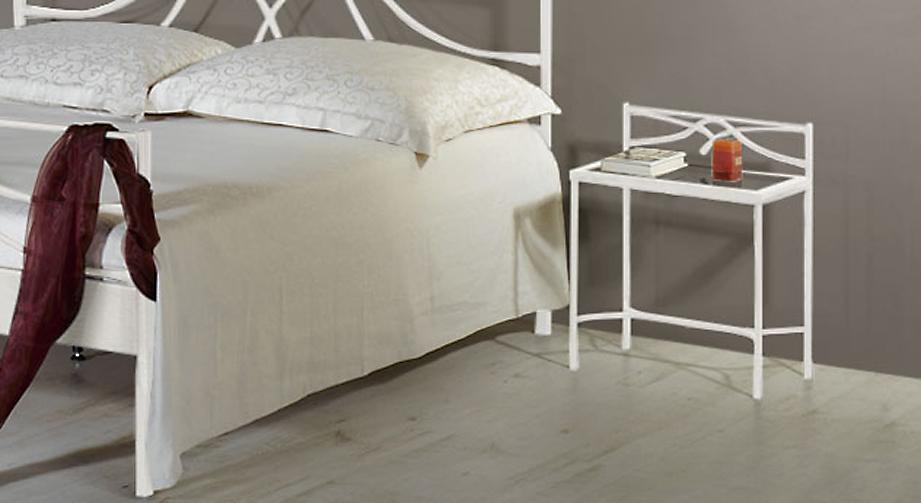Metall-Nachttisch Arica in Weiß, silber-gewischt