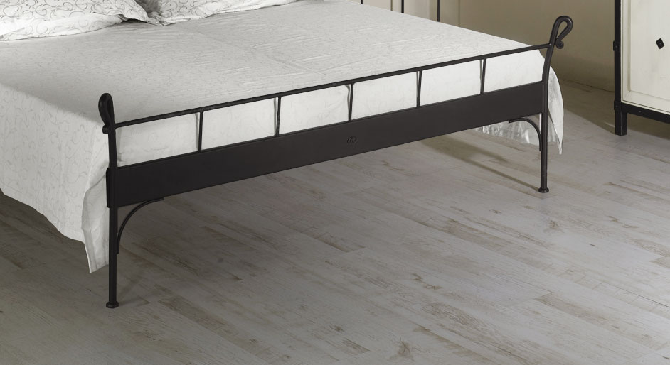 Komforthöhe-Bett 90x200 cm aus weißem Metall - Odria