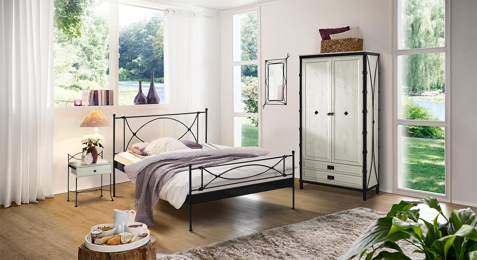 Schlafzimmer Im Komplettangebot Mit Metallbett Ordino - Schlafzimmer komplett angebot
