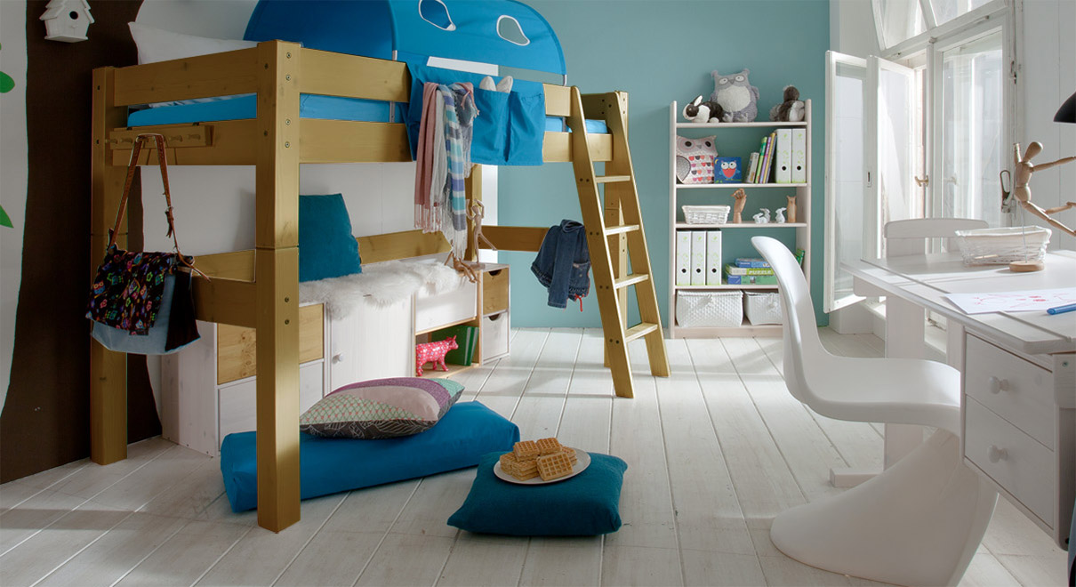 Midi Hochbett Kids Dreams in Kiefer gelaugt/geölt