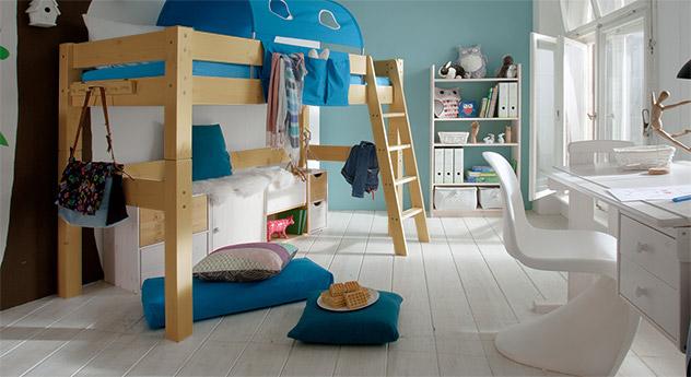 Hochwertiges Midi-Hochbett Kids Dreams in Kiefer natur lackiert