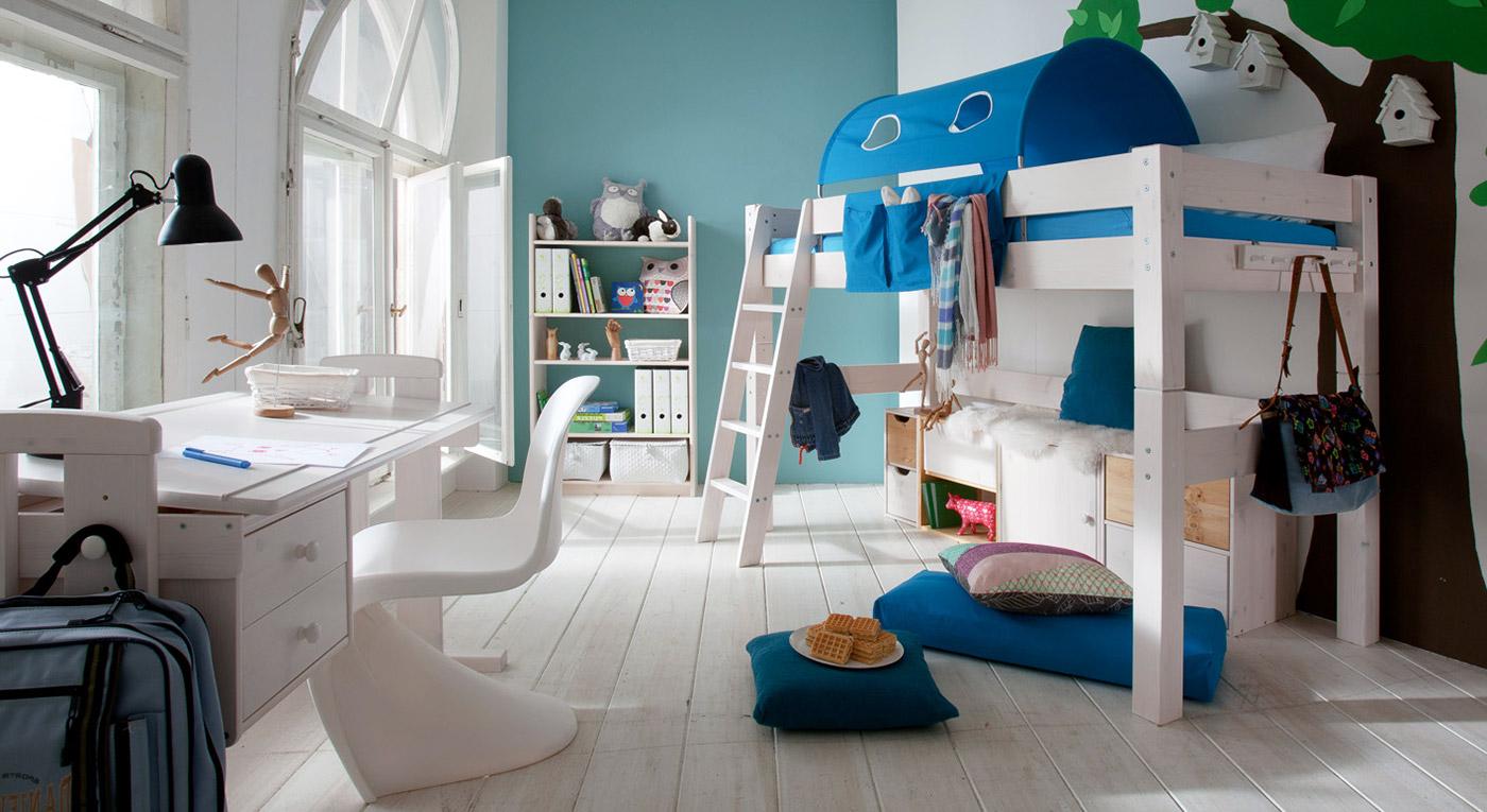 Hochbett in Weiß mit schräger Leiter - Kids Dreams