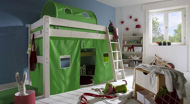 Midi-Hochbett Kids Dreams in Kiefer weiß lasiert