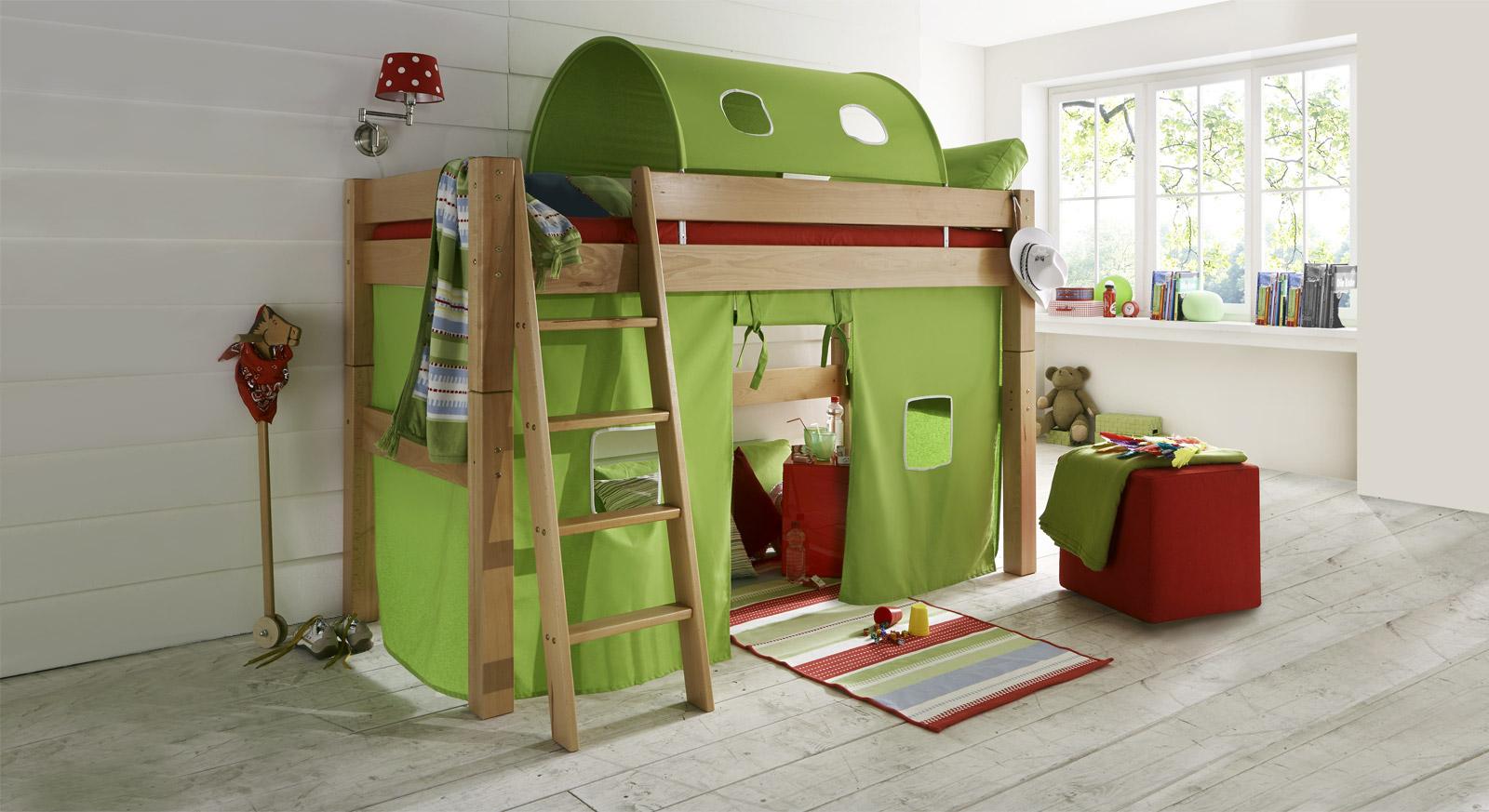 Midi Hochbett Kids Fantasy aus Buchenholz