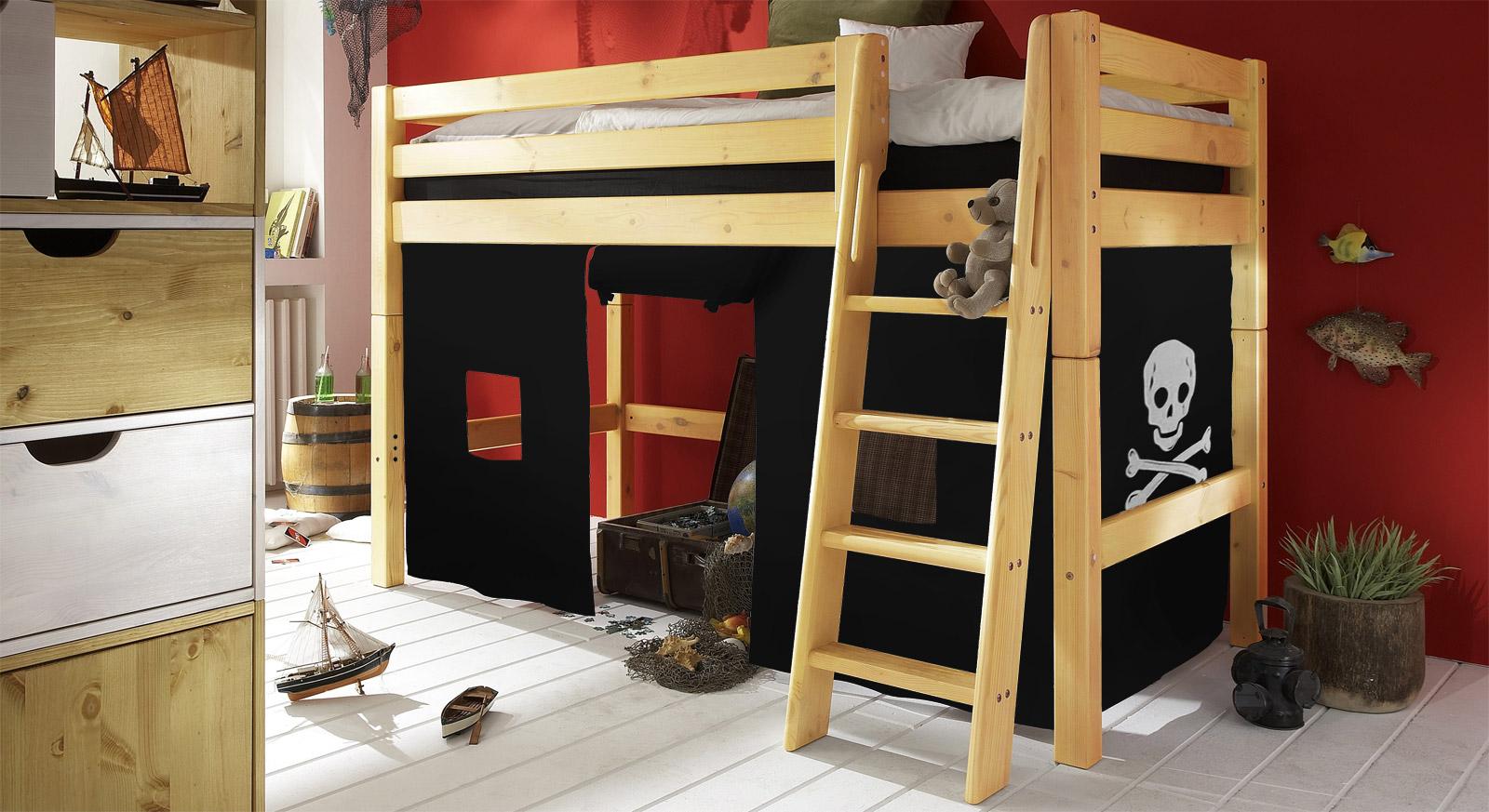 Piratenbett als midi hochbett pirat g nstig kaufen for Kinderzimmer halbhochbett
