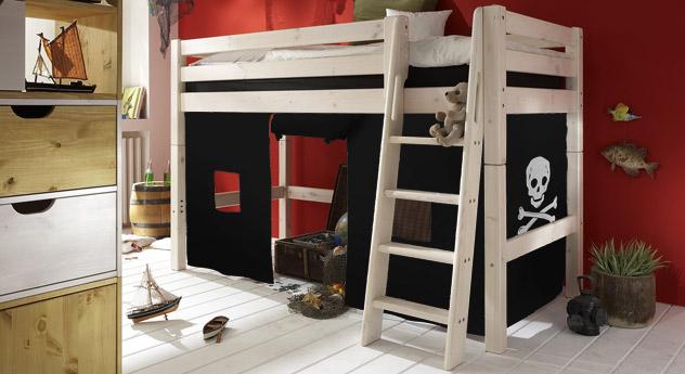 Midi-Hochbett Pirat Spielvorhang Kiefer Weiß