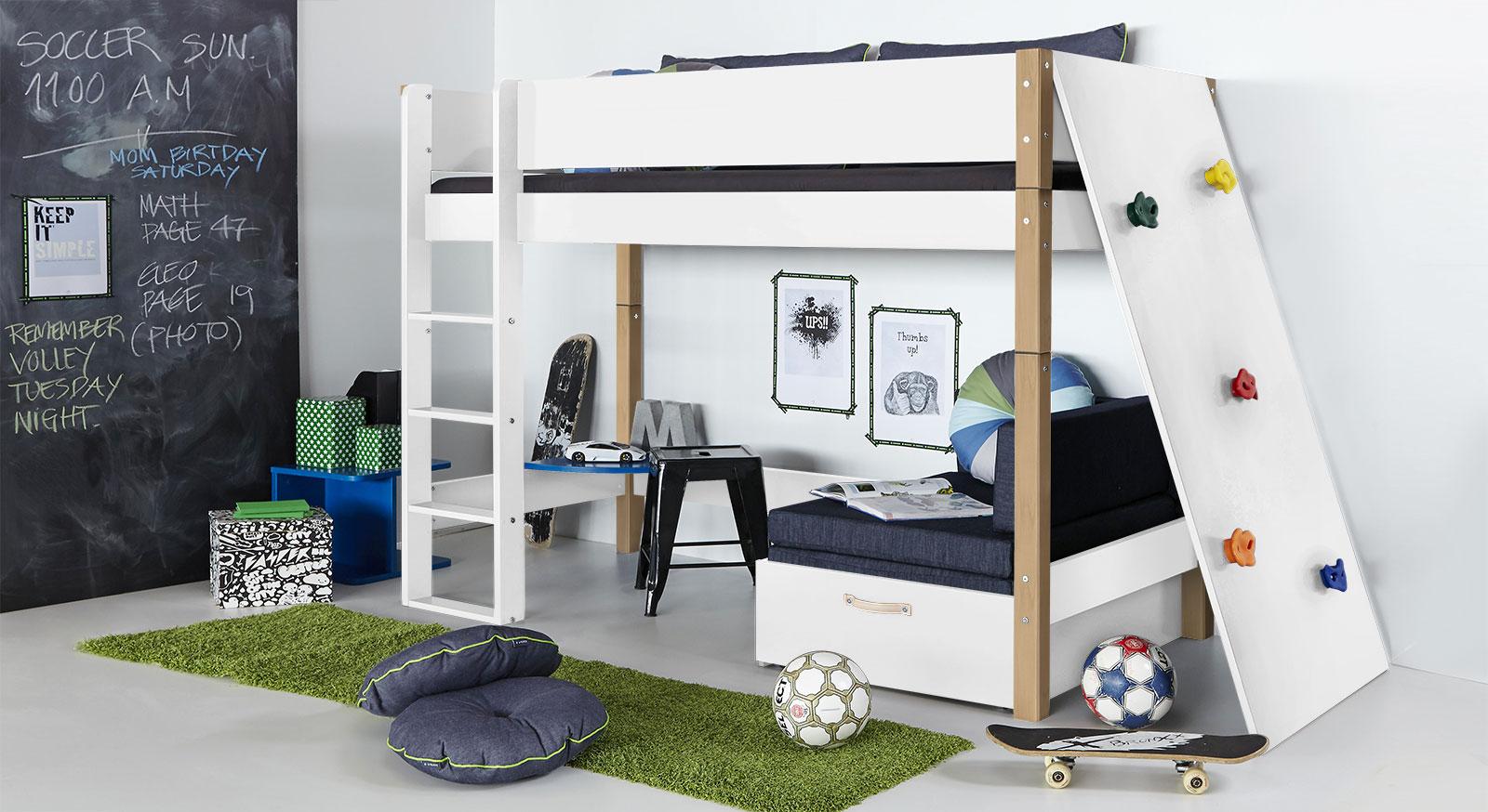 Midi-Hochbett Kids Town mit Kletterwand in Weiß und Buche