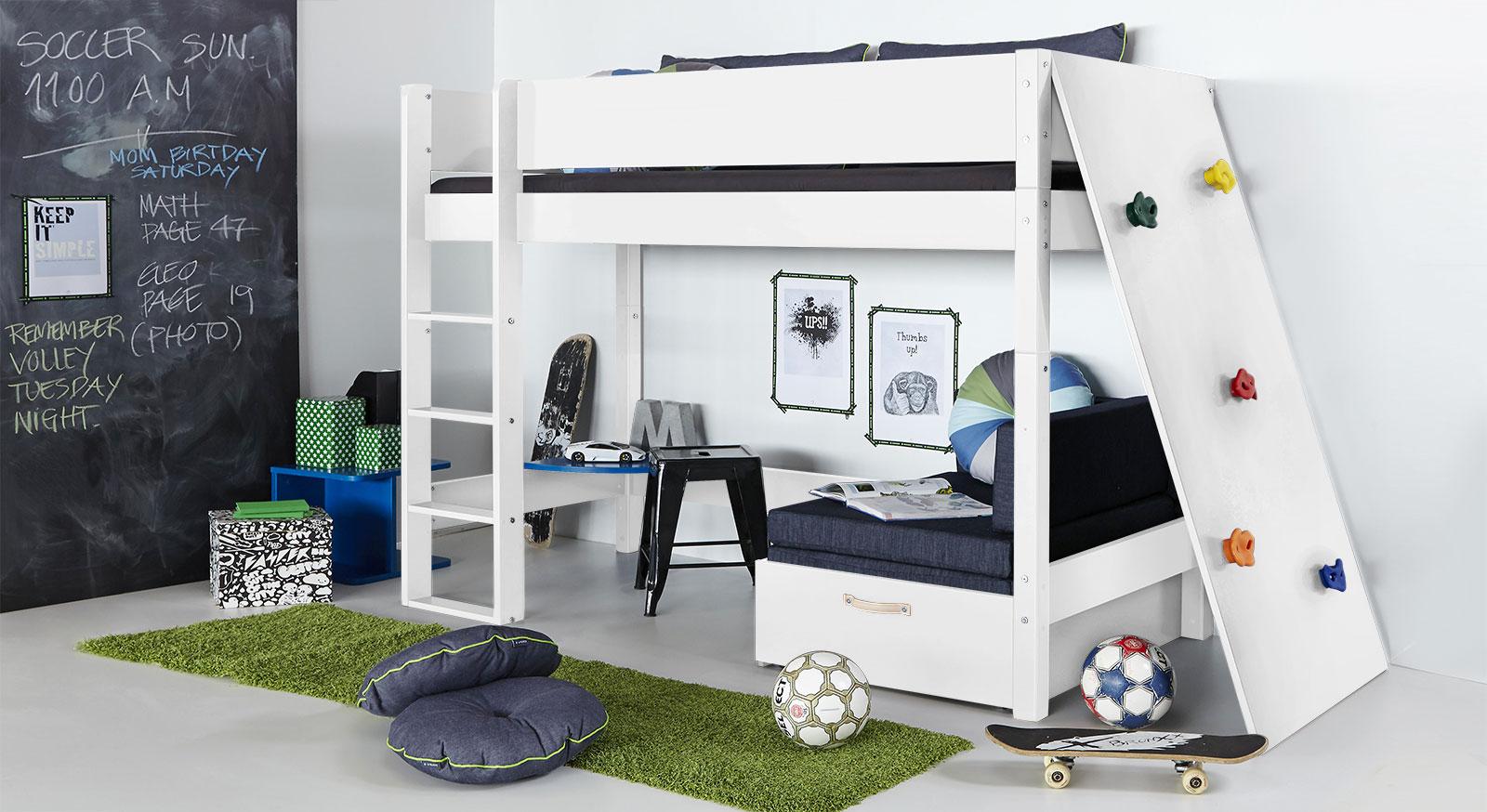 Midi-Hochbett Kids Town mit Kletterwand in uni Weiß