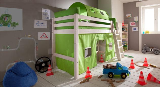 Midi Rutschen Hochbett Kids Paradise in Weiß