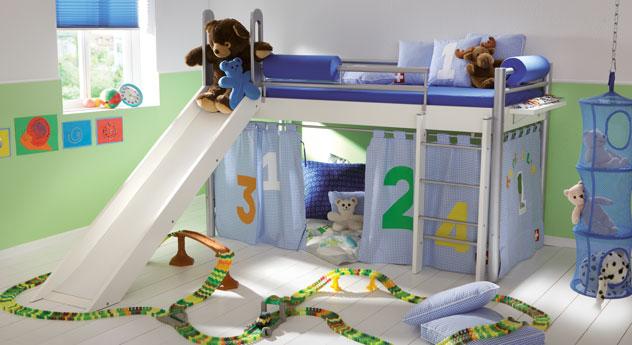 Mini Hochbett Felix Kinder mit Leiter und Rutsche