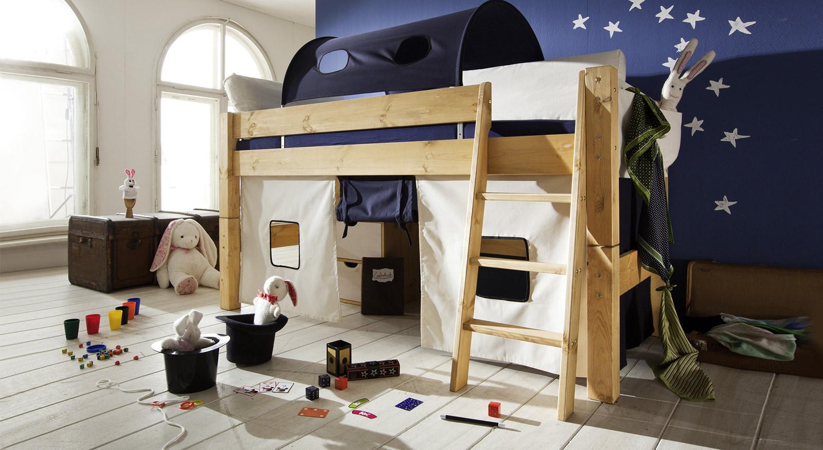 Hochwertiges Mini-Hochbett Kids Dreams, natur lackiert