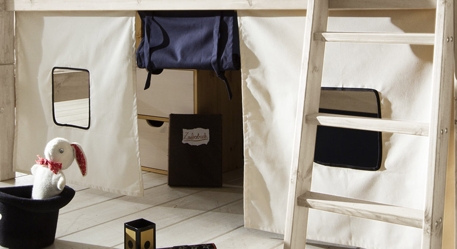 Mini-Hochbett Kids Dreams mit optionalem Spielvorhang
