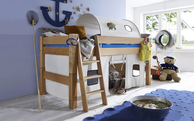hochbett aus buche biologisch ge lt kids fantasy. Black Bedroom Furniture Sets. Home Design Ideas