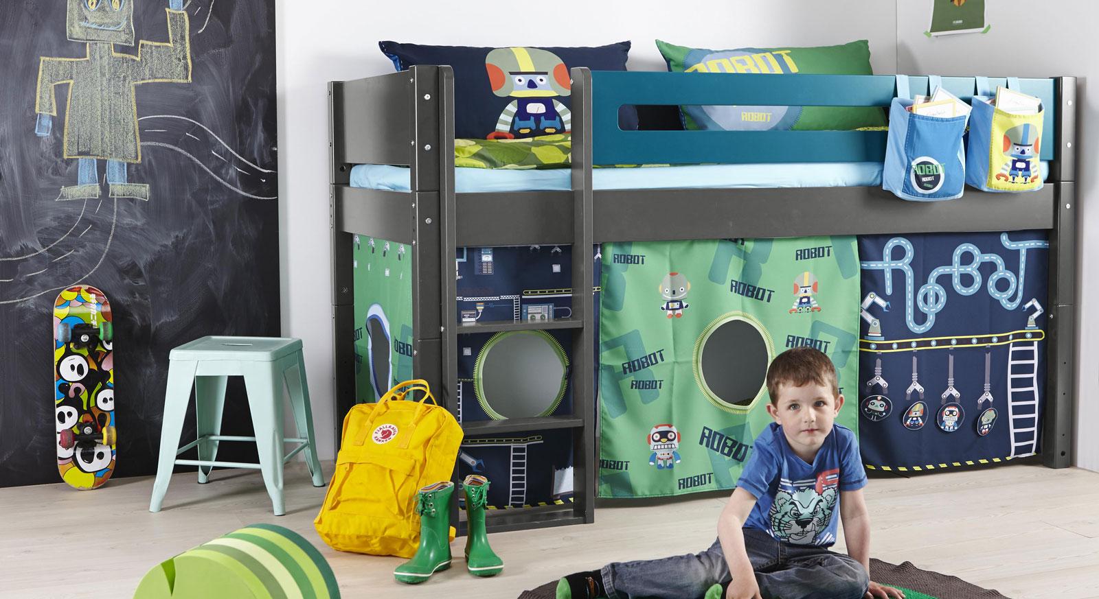 Mini-Hochbett Kids Town in anthrazitfarbenem MDF