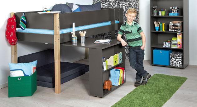 Mini-Hochbett Kids Town mit Auszieh-Schreibtisch in Anthrazit mit Buchepfosten