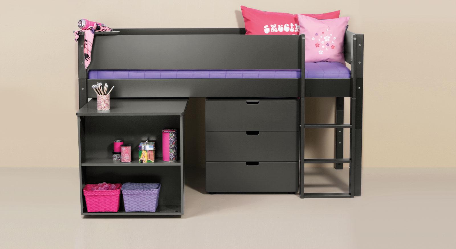 Mini-Hochbett Kids Town mit Auszieh-Schreibtisch in anthrazitfarbenem MDF
