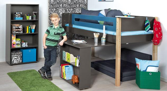 Mini-Hochbett Kids Town mit Auszieh-Schreibtisch und passenden Produkten