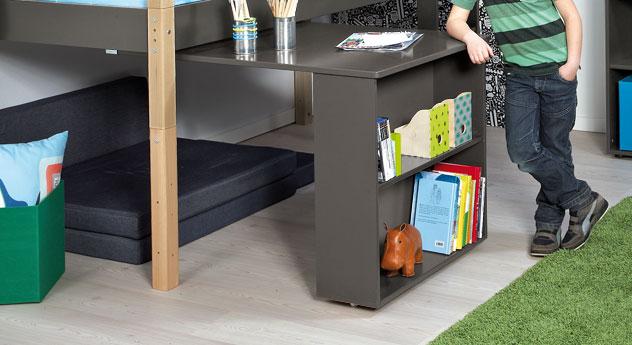 Mini-Hochbett Kids Town mit praktischem und stabilem Auszieh-Schreibtisch