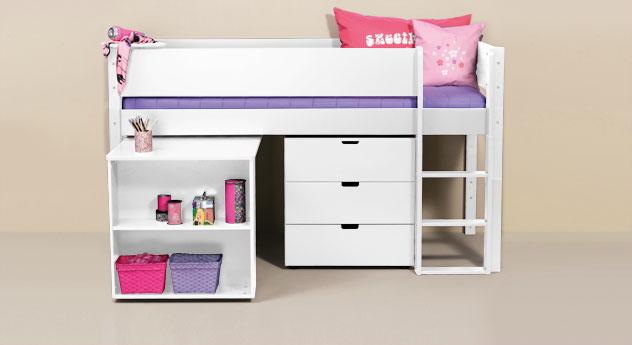 Mini-Hochbett Kids Town mit Auszieh-Schreibtisch aus weißem MDF