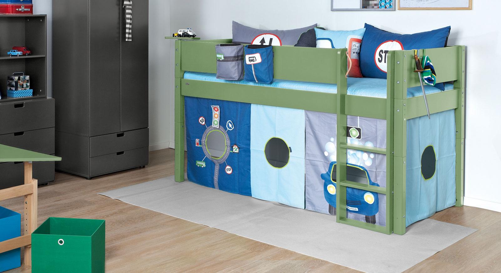 Olivgrünes Mini-Hochbett Kids Town Color aus robustem MDF