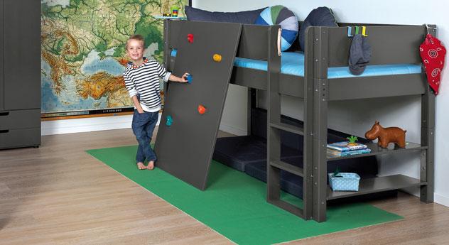 Mini-Hochbett Kids Town mit Kletterwand in der Liegefläche 90x200cm