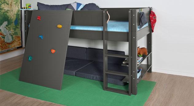 Mini-Hochbett Kids Town mit Kletterwand aus anthrazitfarbenem MDF
