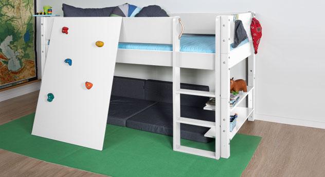 Mini-Hochbett Kids Town mit Kletterwand in weiss