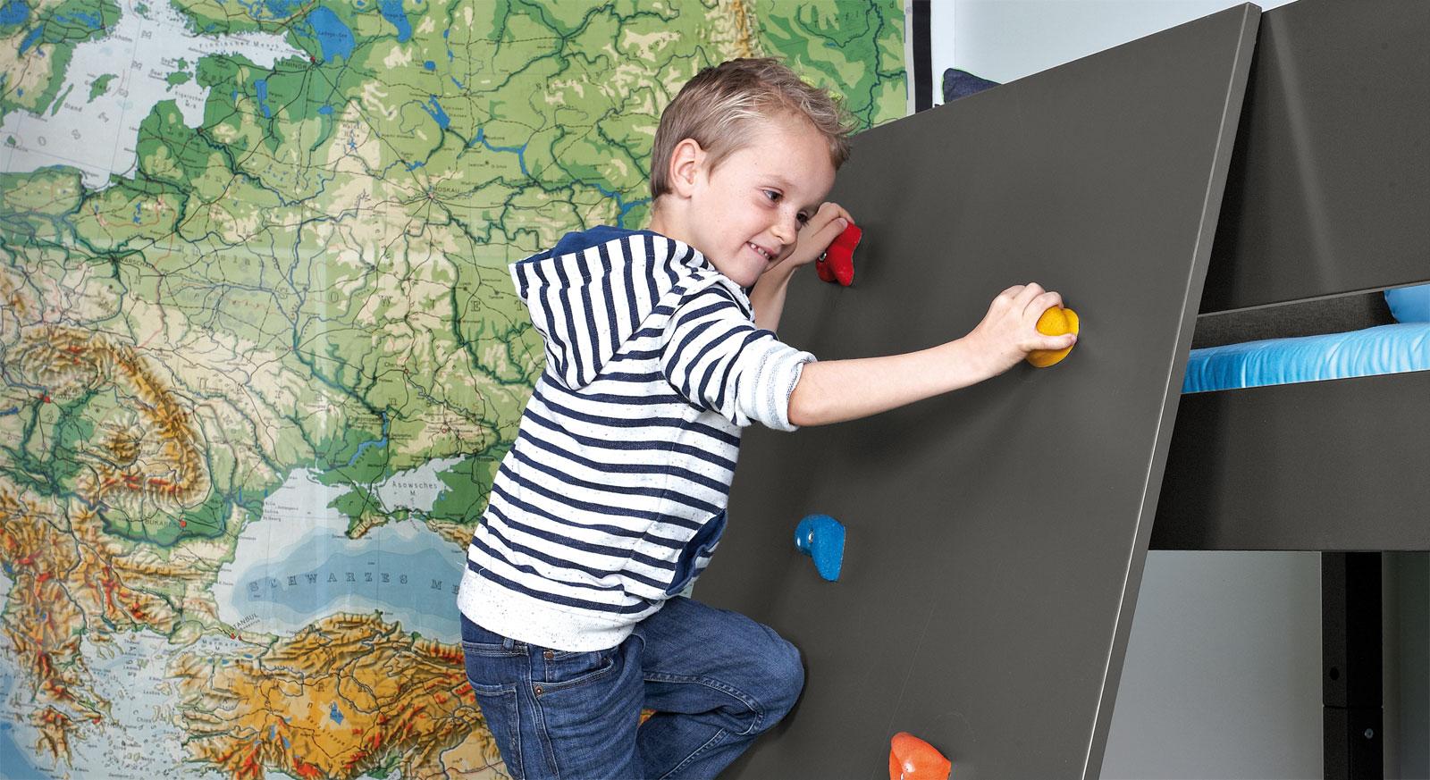 Mini-Hochbett Kids Town mit stabiler Kletterwand
