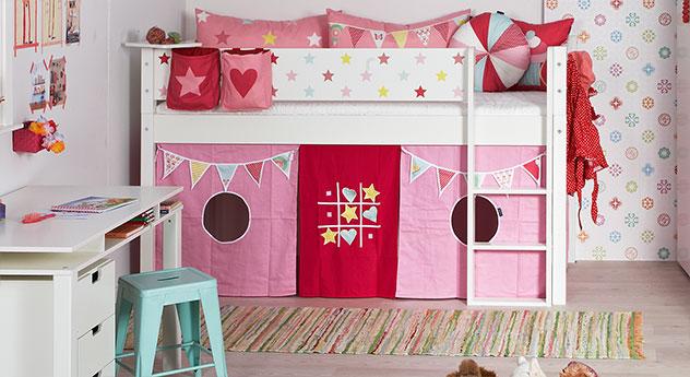 Modernes Mini-Hochbett Kids Town Sterne in Uni Weiß