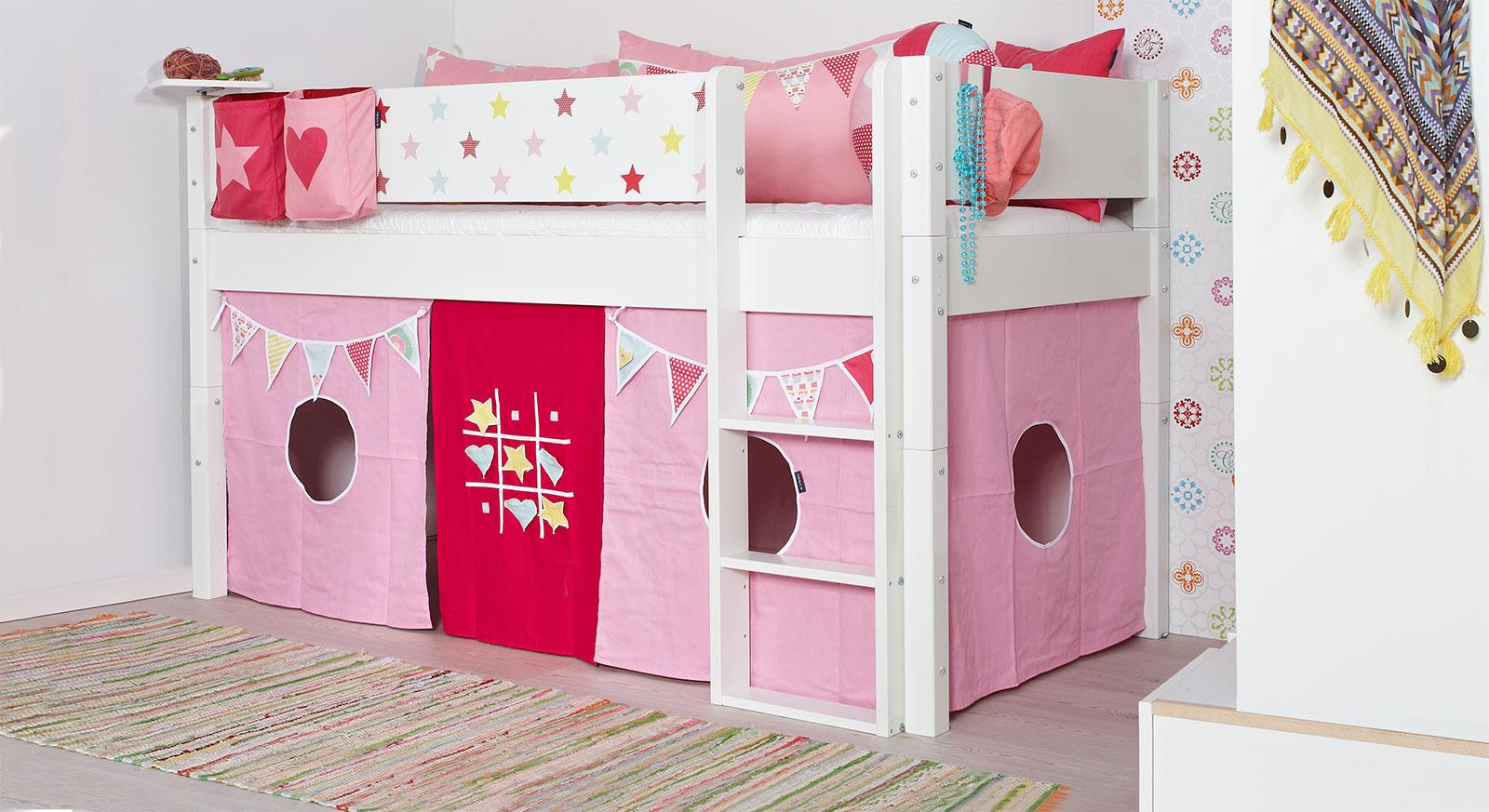 Mini-Hochbett Kids Town Sterne in Weiß