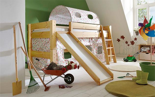 Mini Rutschen Hochbett Kids Dreams mit Blumen-Vorhang