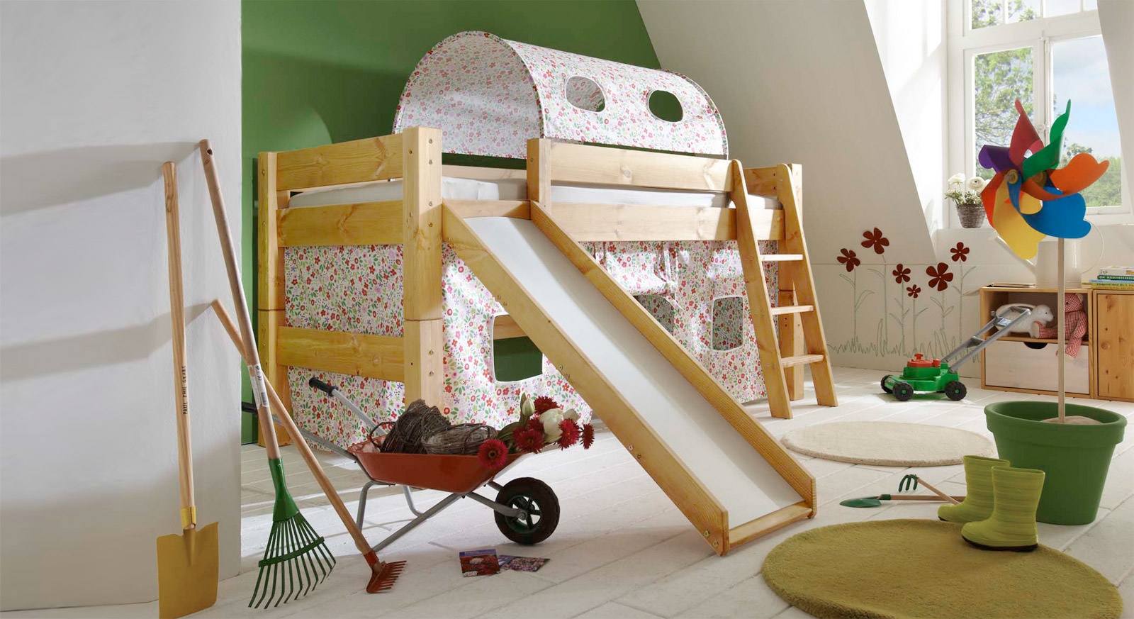 Mini Rutschen Hochbett Kids Dreams in Natur lackiert