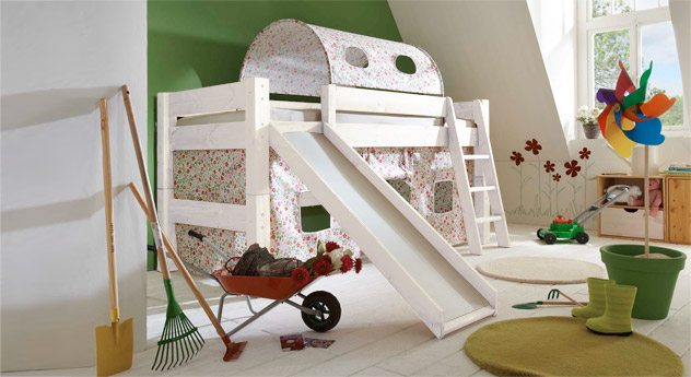 Mini Rutschen Hochbett Kids Dreams in Weiß