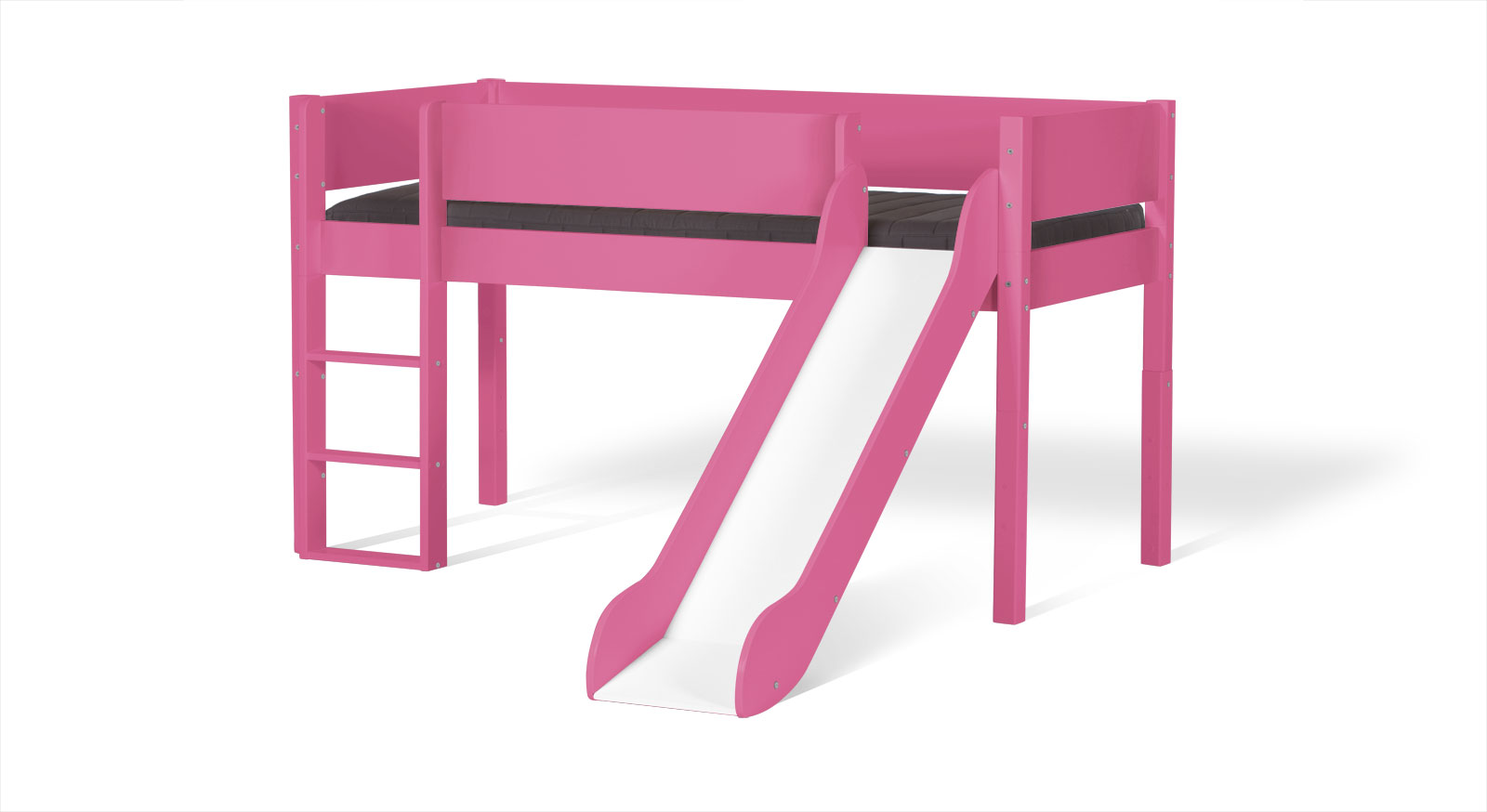 Pinkfarbenes Mini-Rutschen-Hochbett Kids Town