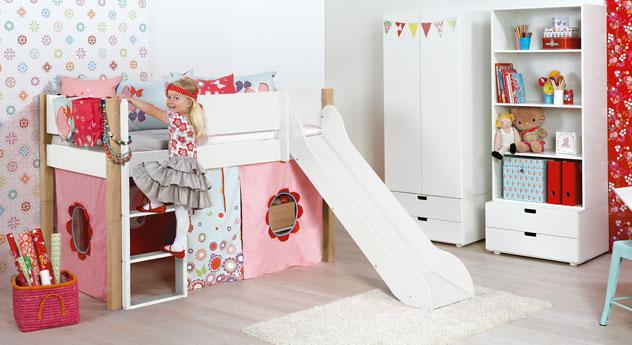 Mini-Rutschen-Hochbett Kids Town in Weiß und Buche
