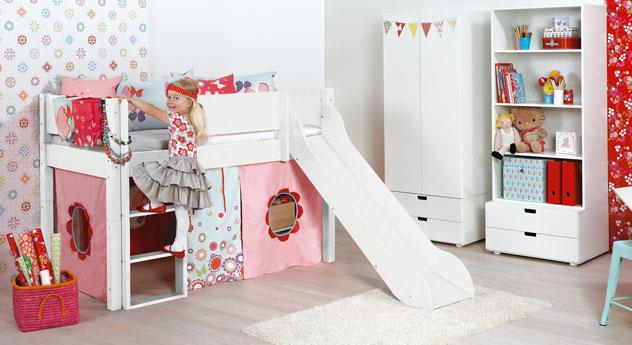 Mini-Rutschen-Hochbett Kids Town aus weißem MDF