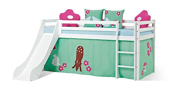 Mini-Rutschen-Hochbett Rotkäppchen mit buntem Spielvorhang