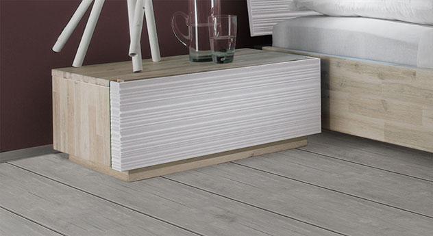 Nachttisch Ancona aus Akazienholz in Weiß mit Schublade