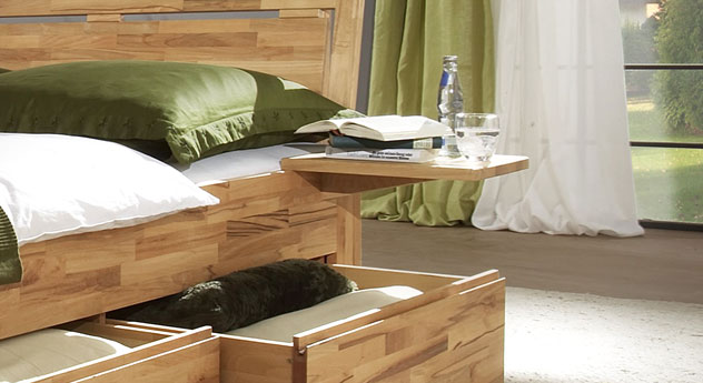 Nachttisch Andalucia in Buche zum Einhängen mit Ablage