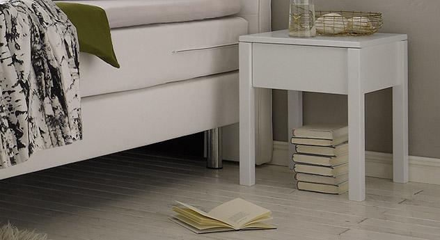 nachtkonsole aus massiver buche wei lackiert berea. Black Bedroom Furniture Sets. Home Design Ideas