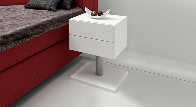 Weißer Nachttisch Bianco in verschiedenen Höhen