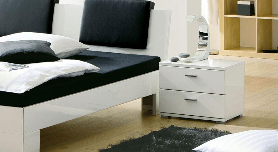 Nachttisch Black White MDF Hochglanz Weiß