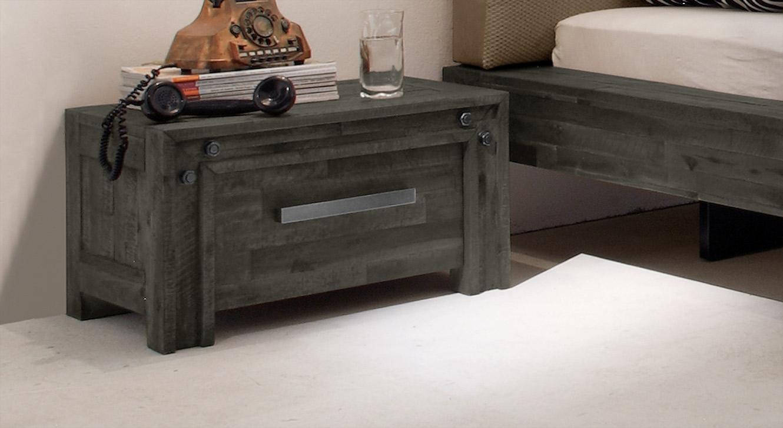 Nachttisch Caldera in grauem Akazienholz
