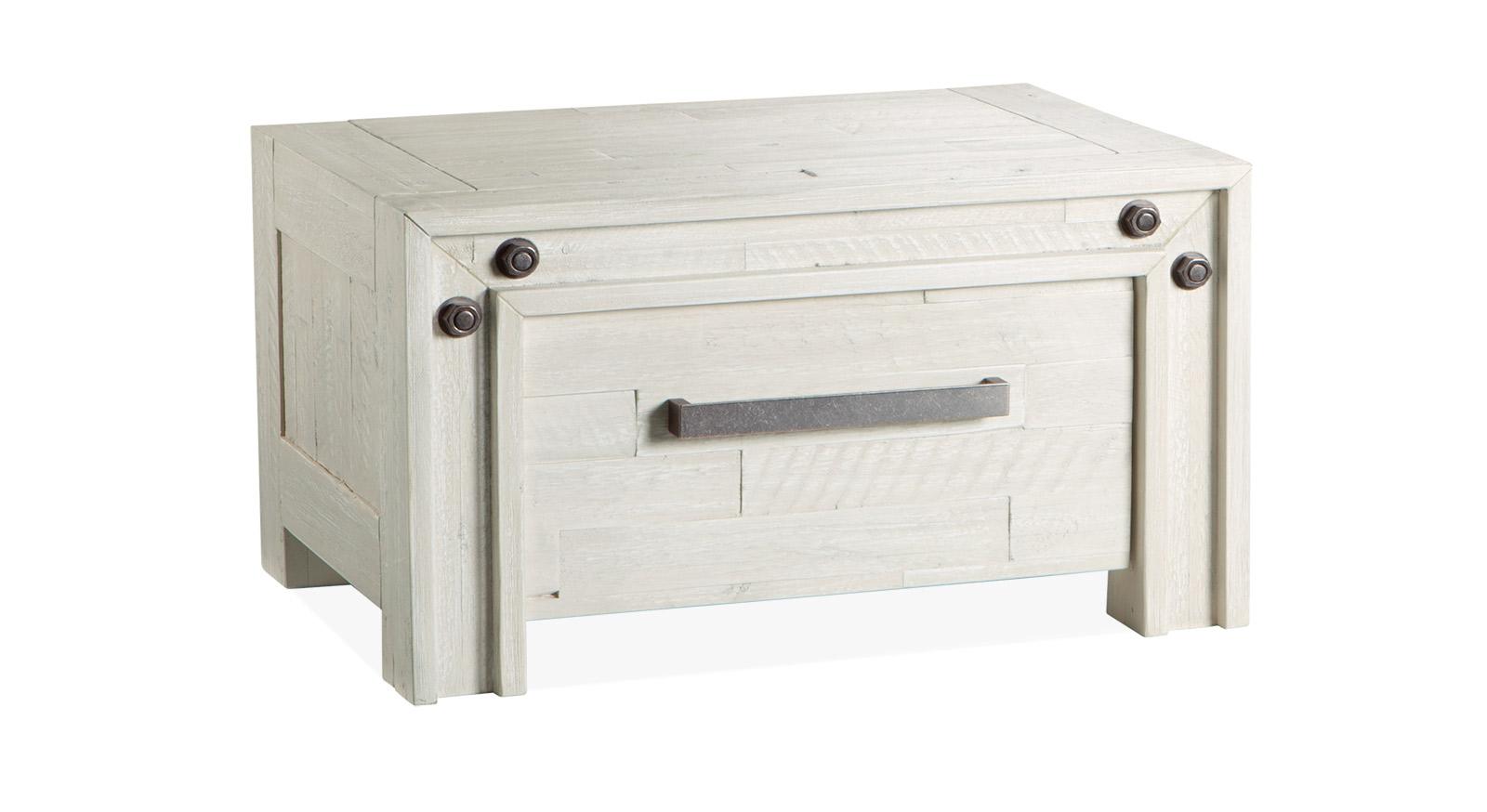 Nachttisch Caldera in weißem Akazienholz