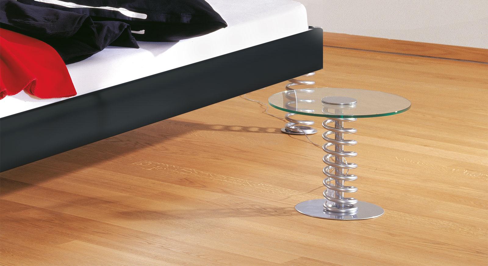 Nachttisch Elastic aus Metall mit Glasplatte