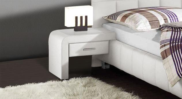 Nachttisch Las Lomas aus Kunstleder in Weiß