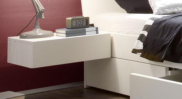 Moderner Hänge-Nachttisch Liverpool in Weiß