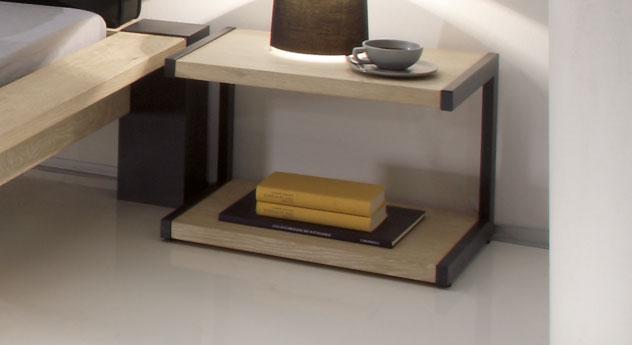 Nachttisch in Metall anthrazit und Wildeiche weiß