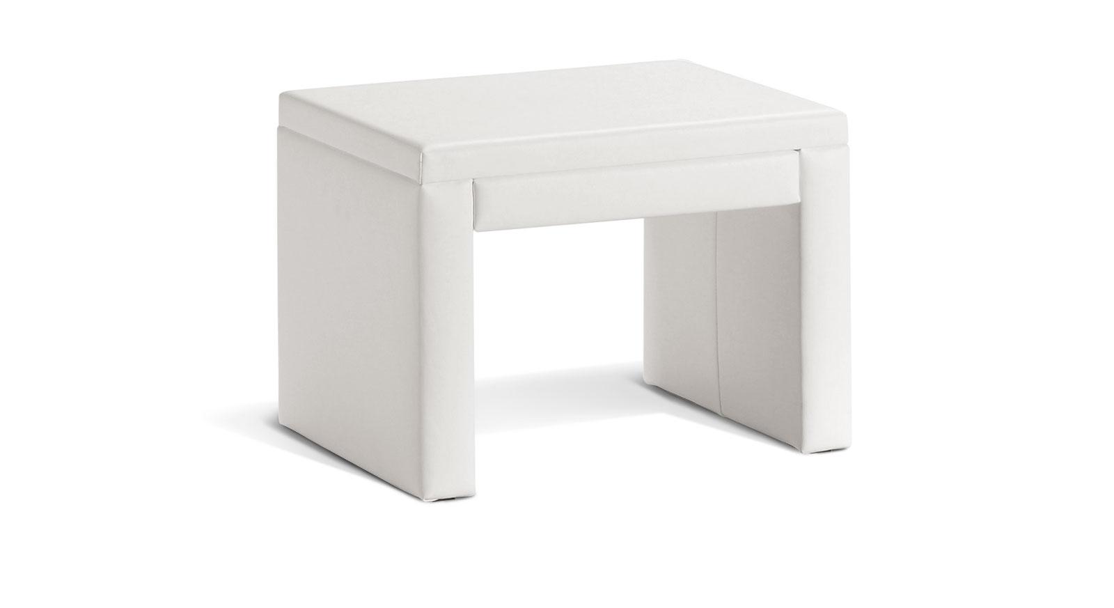 Nachttisch Marim aus weißem Echtleder